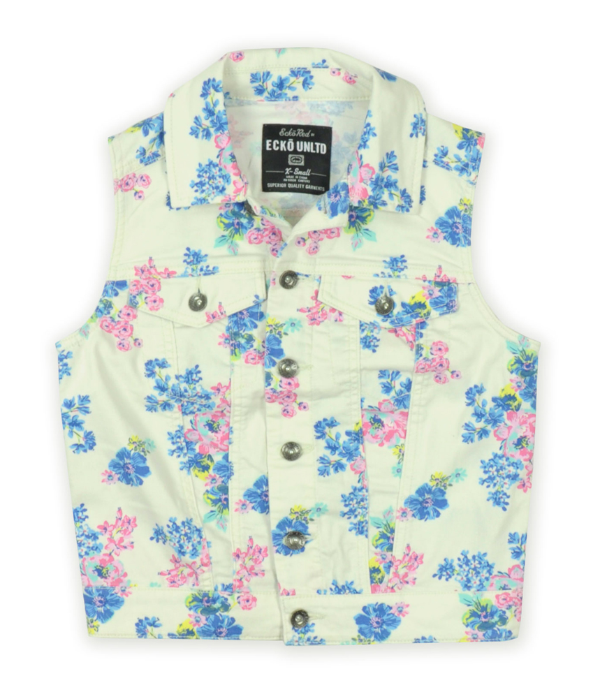 Ecko Unltd. Womens Floral Twill Lightweight Denim Vest 20063 at Sears.com