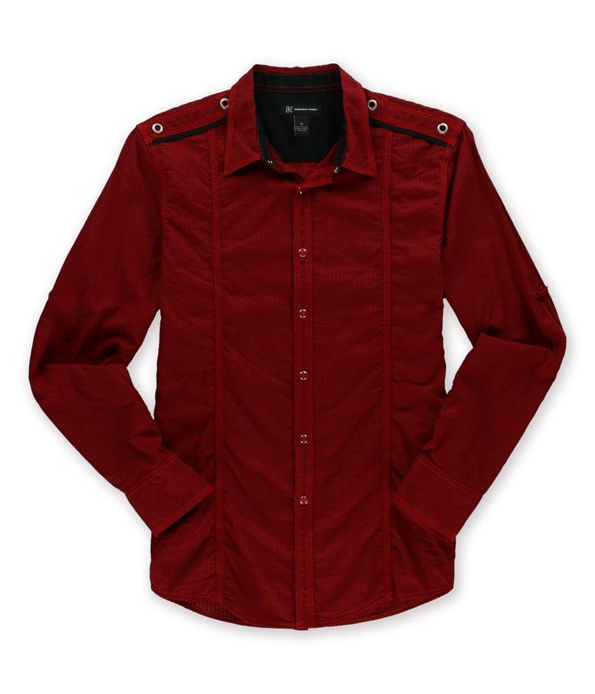 I n c mens textured stripe button up shirt mens apparel for Striped button up shirt mens