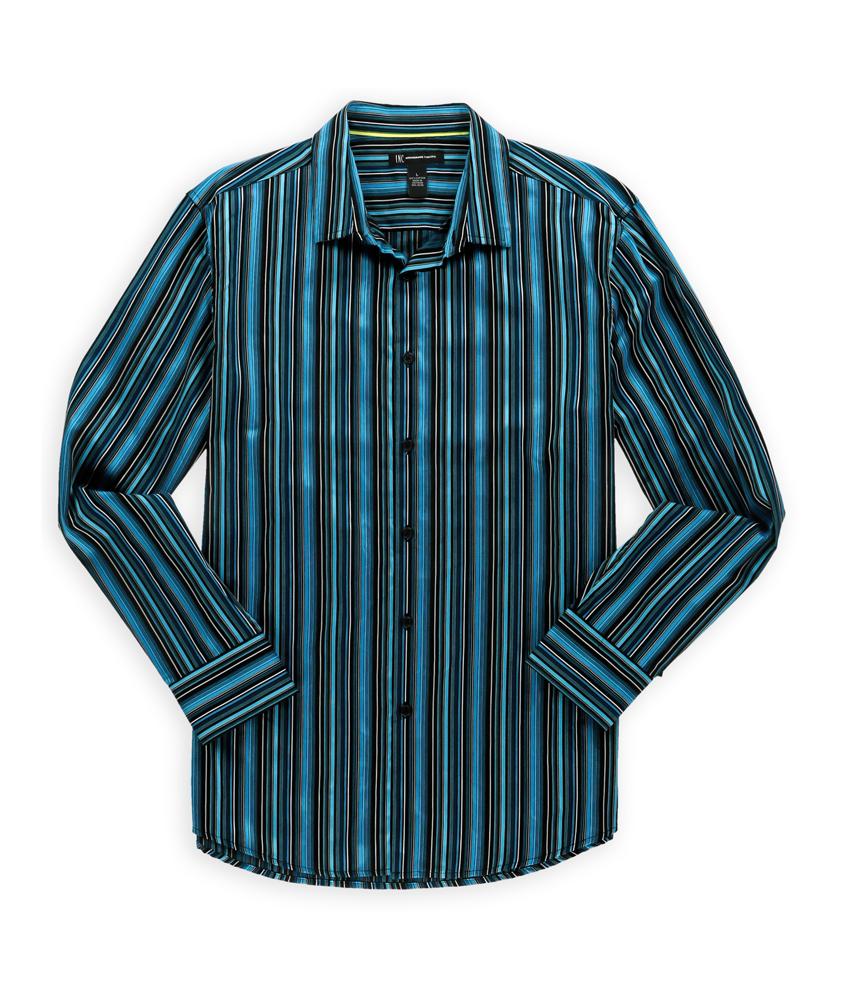 I n c mens multi stripe button up shirt mens apparel for Striped button up shirt mens