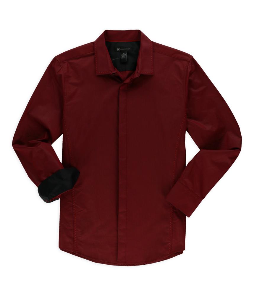 I N C Mens Hidden Button Up Dress Shirt Ebay