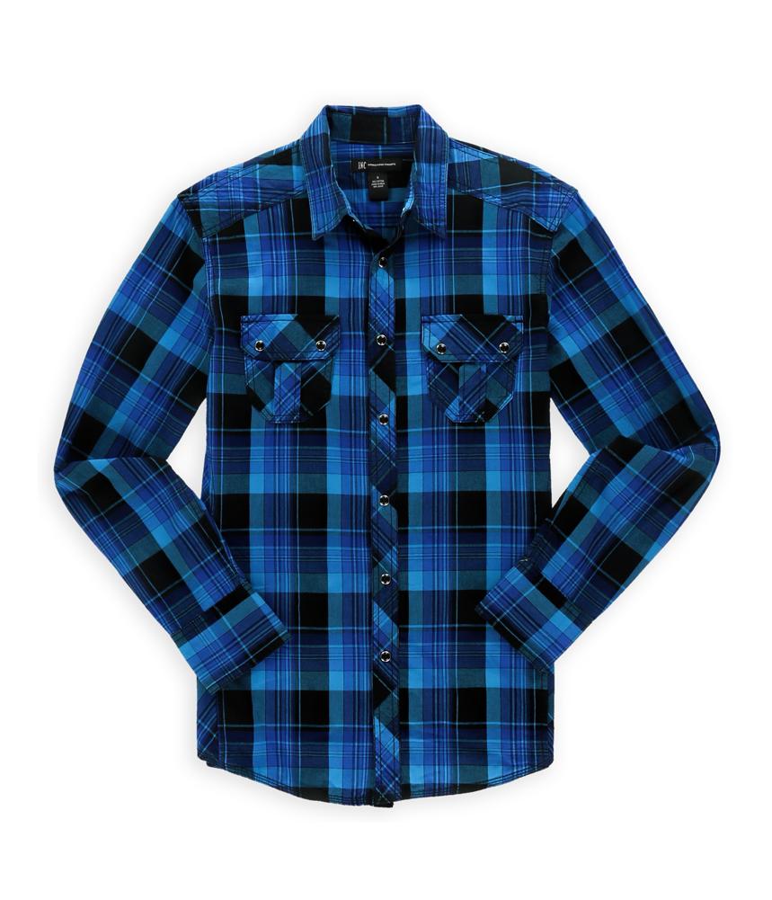 i n c mens western plaid button up shirt blueblack s ebay