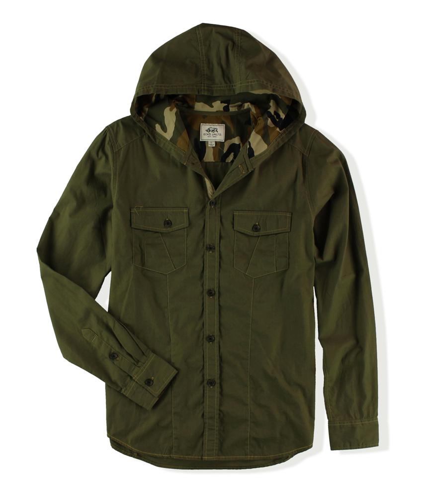 ecko unltd mens insignia hooded button up shirt mens