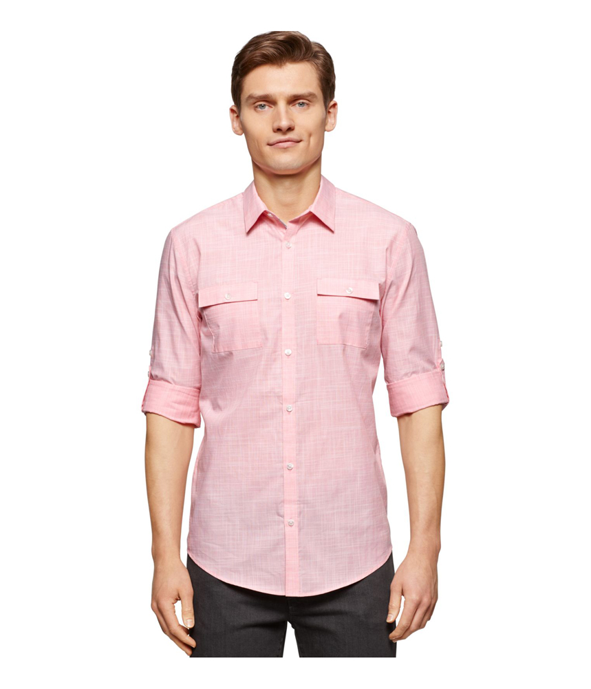 Calvin klein mens textured slim fit button up shirt ebay for Fitted button up shirts mens