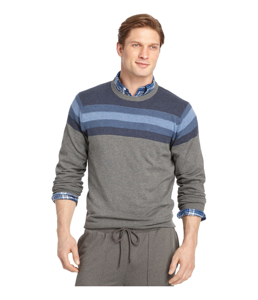 Izod Mens Heathered Chest Stripe Pullover Sweater Mens