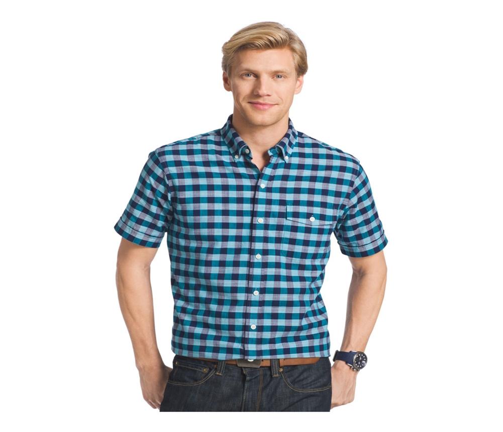 Izod mens chambray buffalo plaid button up shirt ebay for Buffalo plaid men s shirt