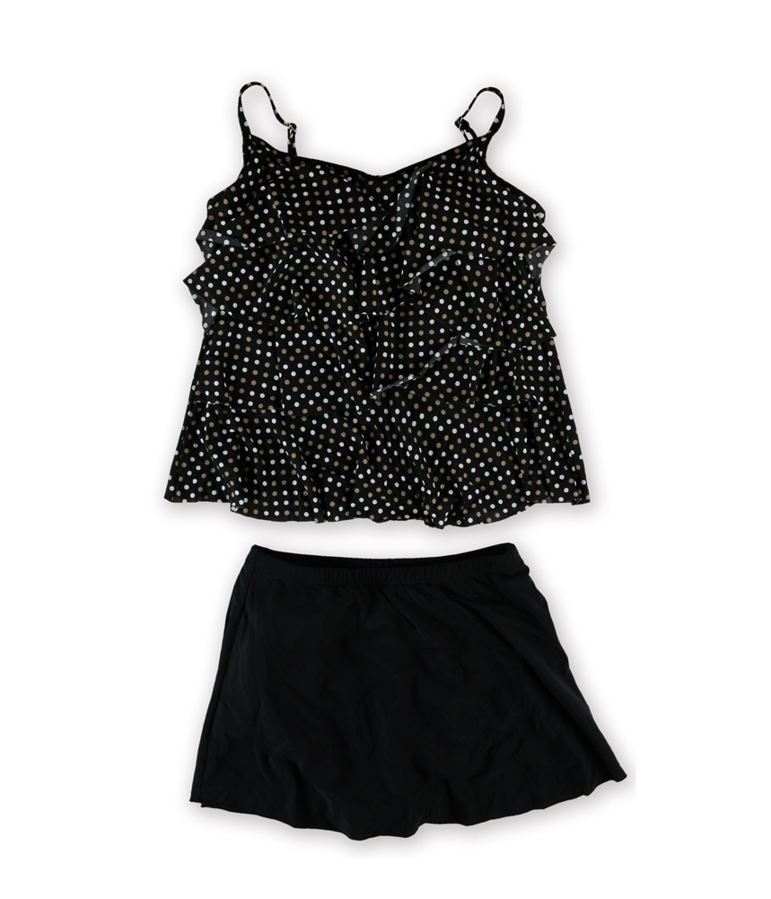 miraclesuit womens dot tiered skirt 2 tankini black