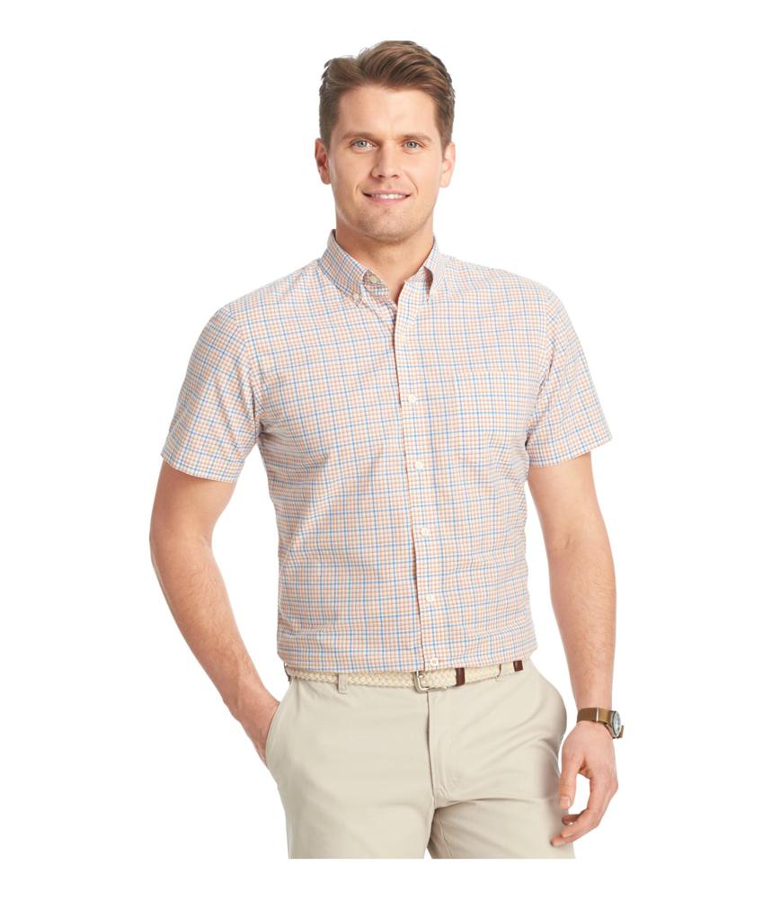 Izod Mens Plaid Poplin Button Up Shirt Mens Apparel