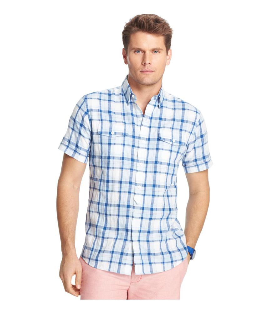 Izod Mens Riviera Plaid Performance Button Up Shirt Mens