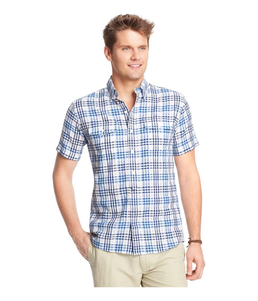 Izod Mens Dobby Plaid Button Up Shirt Mens Apparel