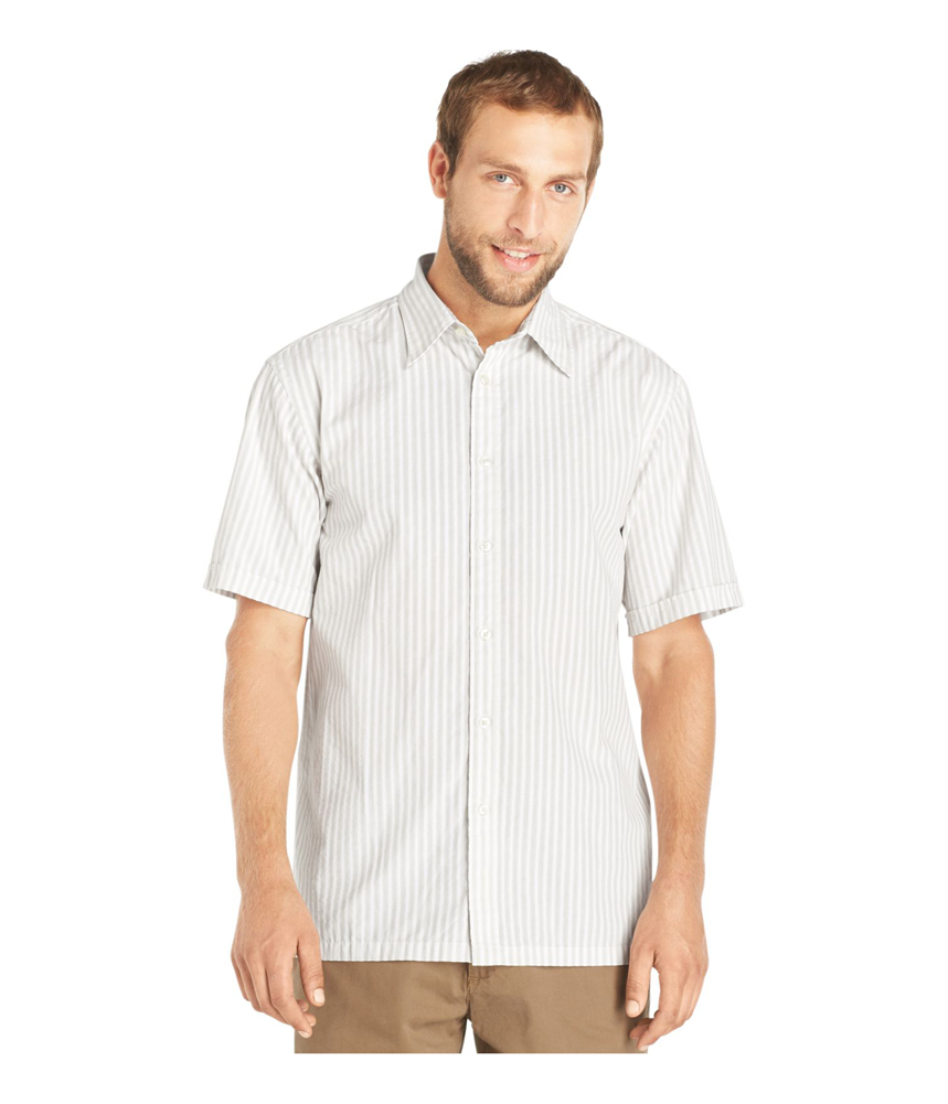 Van heusen mens striped seersucker button up shirt ebay for Striped button up shirt mens
