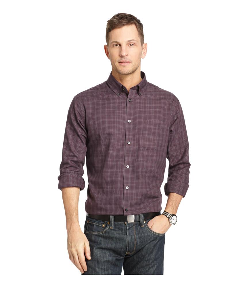 Van Heusen Mens No Iron Windowpane Button Up Dress Shirt