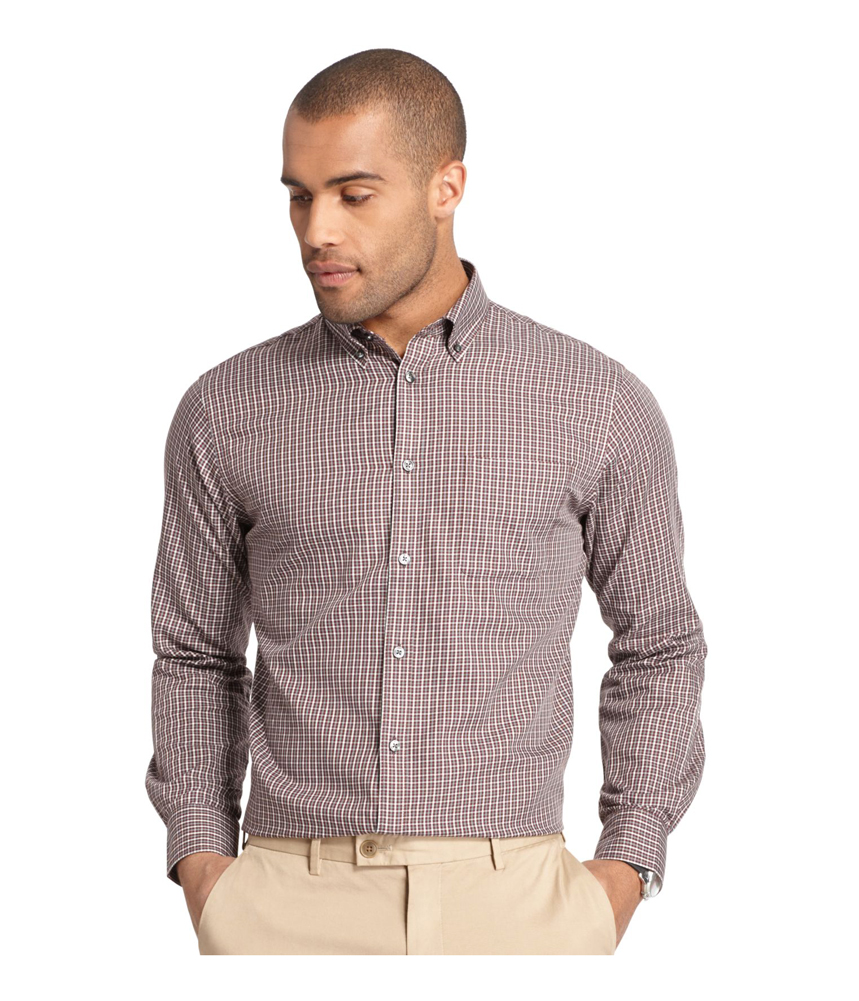 Van heusen mens premium no iron button up shirt mens for No iron shirts mens