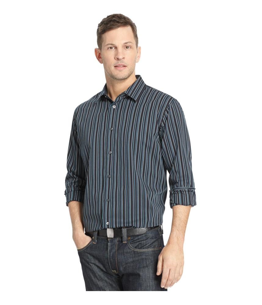 Van heusen mens night stripe button up dress shirt mens for Striped button up shirt mens