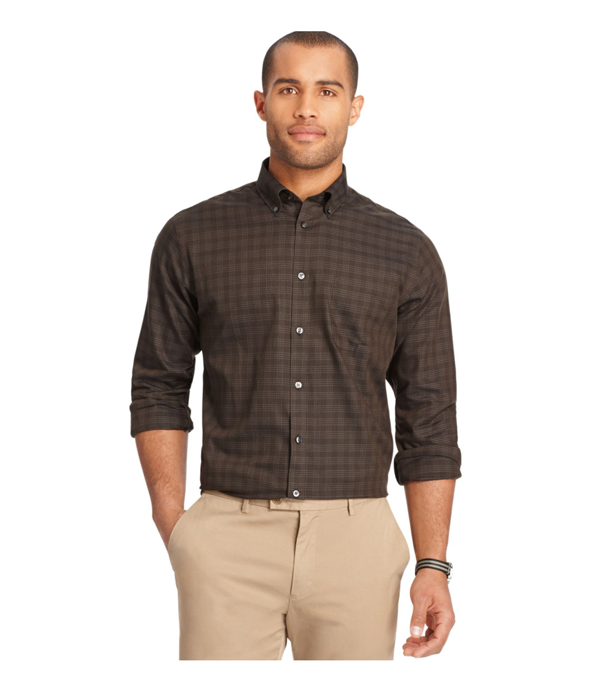 Van heusen mens premium no iron button up shirt mens for Van heusen iron free shirts