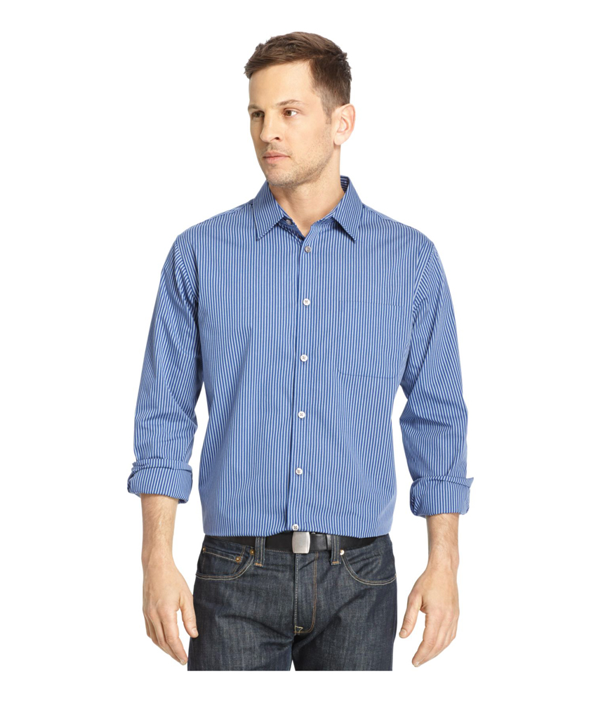 Van heusen mens traveler no iron woven button up shirt for Mens no iron dress shirts