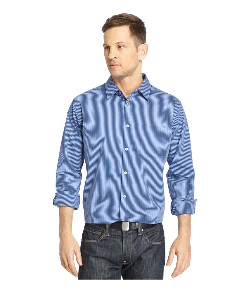 Van heusen mens traveler no iron woven button up shirt for No iron shirts mens