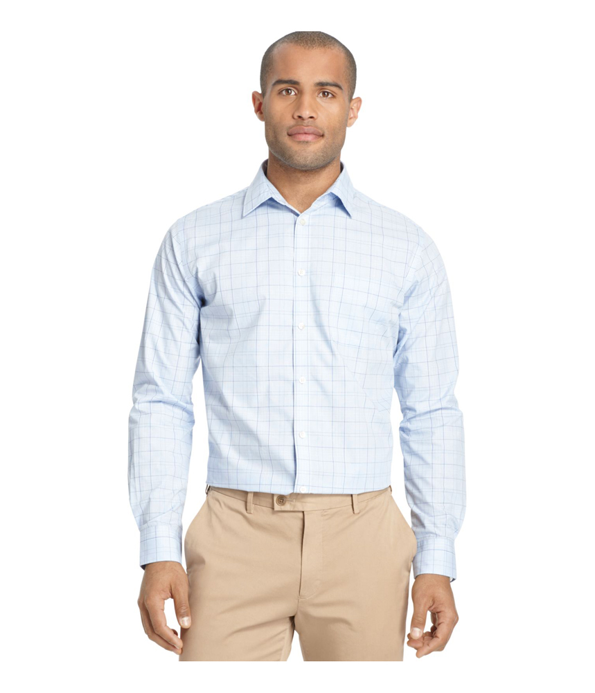 Van heusen mens no iron traveler button up shirt mens for No iron shirts mens