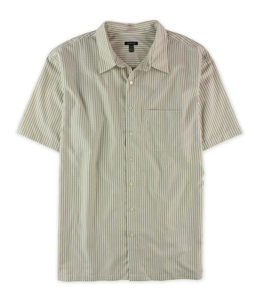 Van heusen mens stripe button up shirt ebay for Striped button up shirt mens