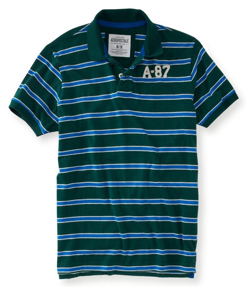 Aeropostale mens stripe rugby polo shirt ebay for Union made polo shirts