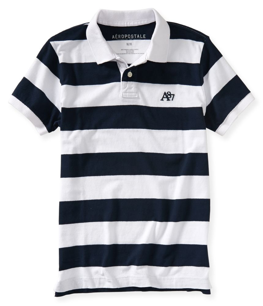Aeropostale Mens Striped A87 Rugby Polo Shirt