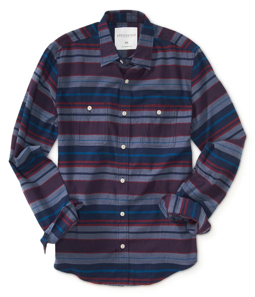 Aeropostale mens striped pocket button up shirt ebay for Striped button up shirt mens