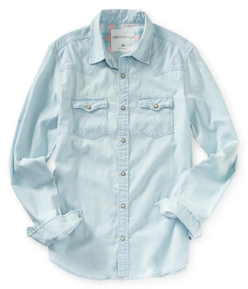 Aeropostale mens denim western button up shirt ebay for Jean button up shirt mens