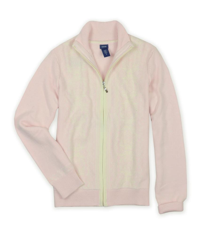 Izod IZOD Womens Full Zip Snowflake Knit Sweater