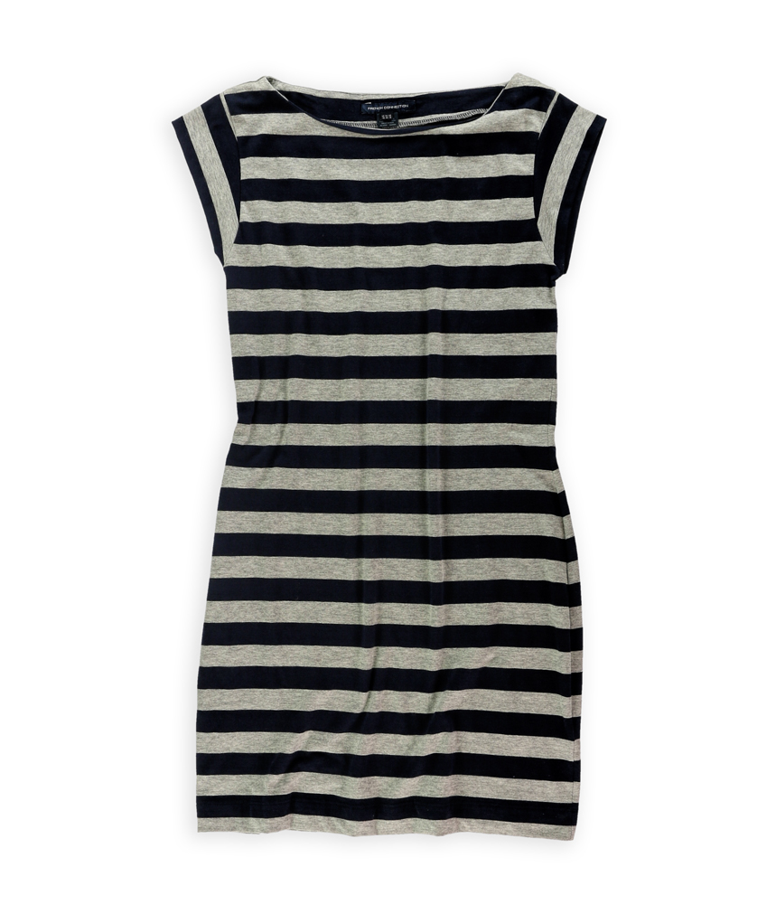 French Connection Womens Striped Tee Shirt Dress Nvygry 12