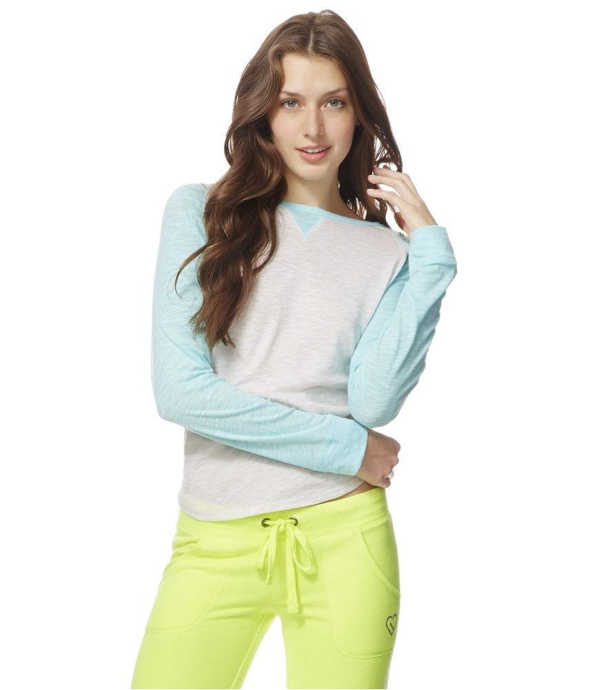Aeropostale womens raglan tee pajama sleep t shirt ebay for Women s flannel sleep shirt