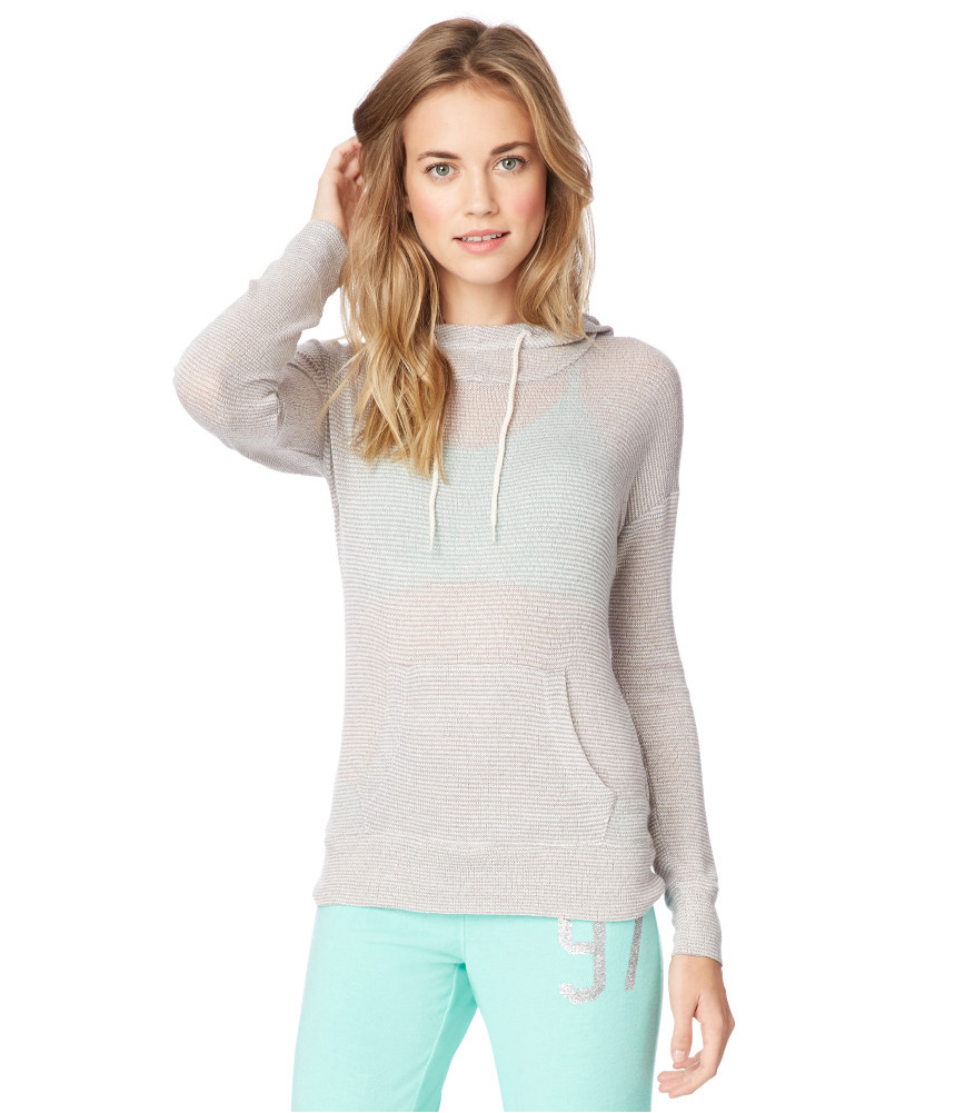 Knitting Pattern Womens Hoodie : Aeropostale Womens Striped Knit Hoodie Sweatshirt eBay
