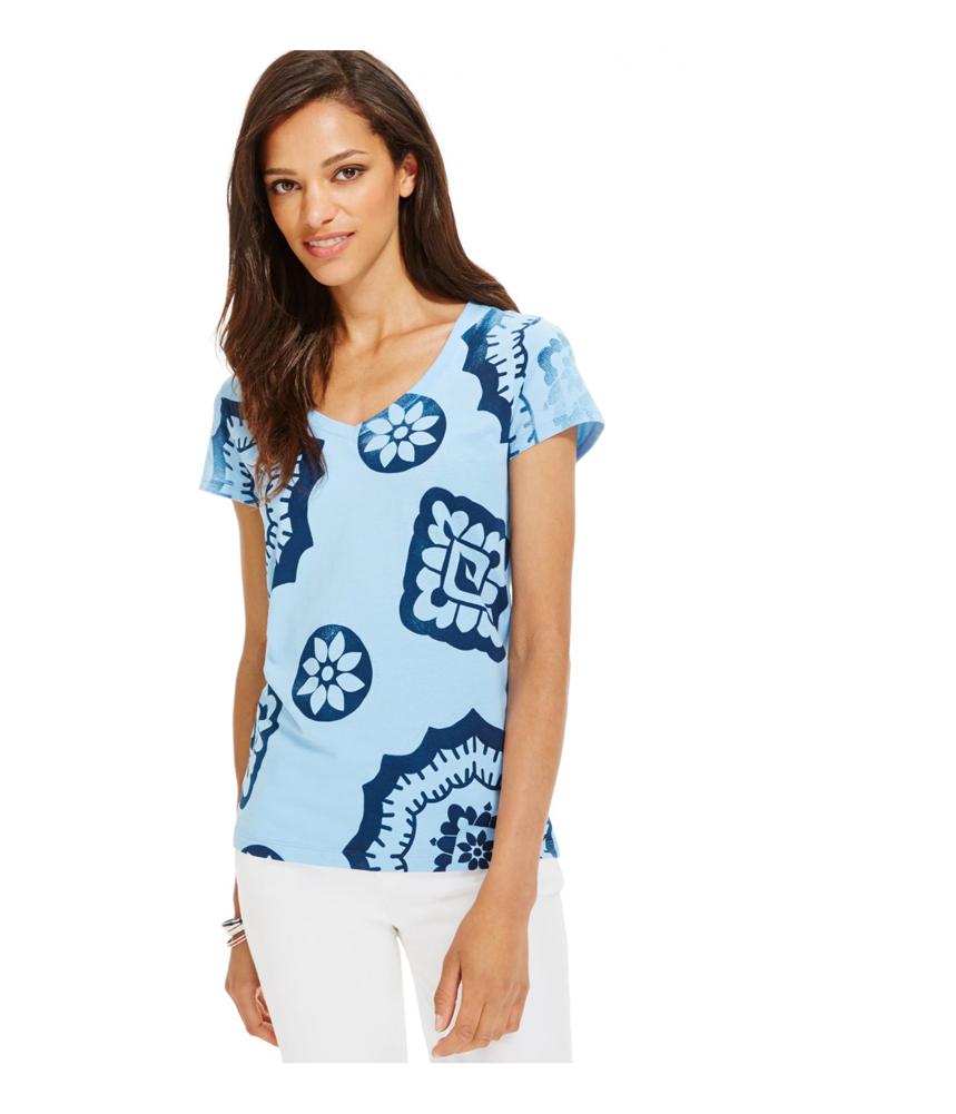 tommy hilfiger womens printed v neck graphic t shirt ebay. Black Bedroom Furniture Sets. Home Design Ideas