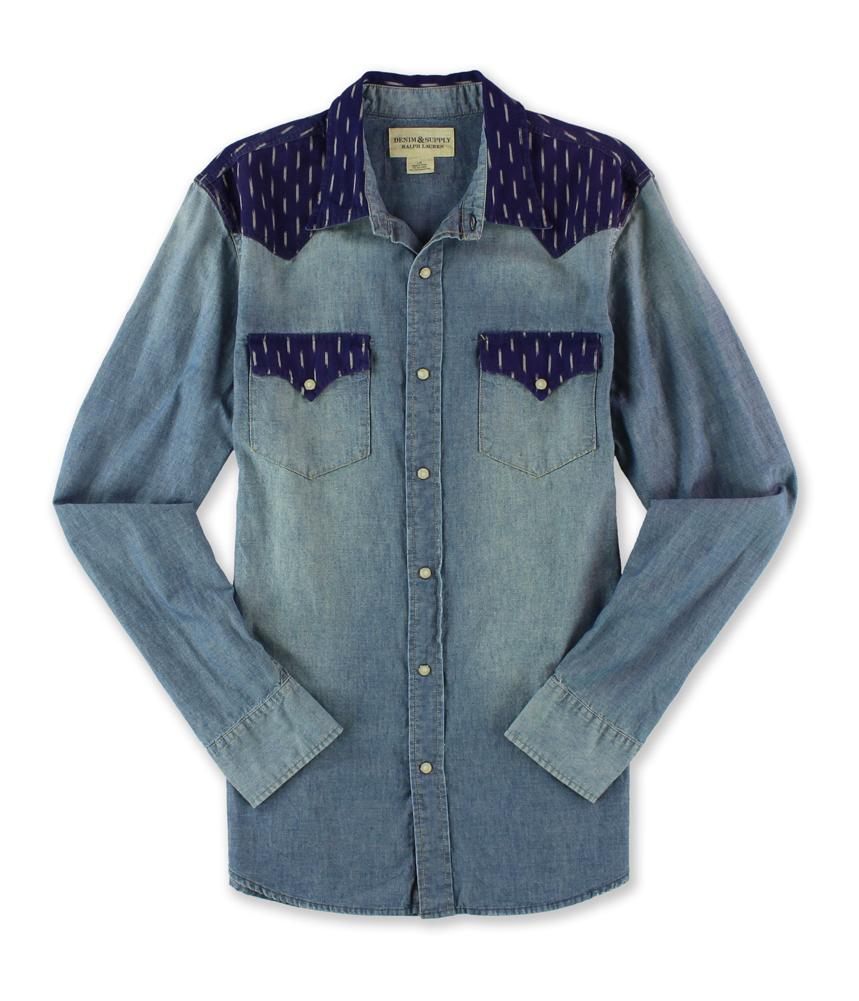Ralph lauren mens denim and colorblock button up shirt ebay for Jean button up shirt mens