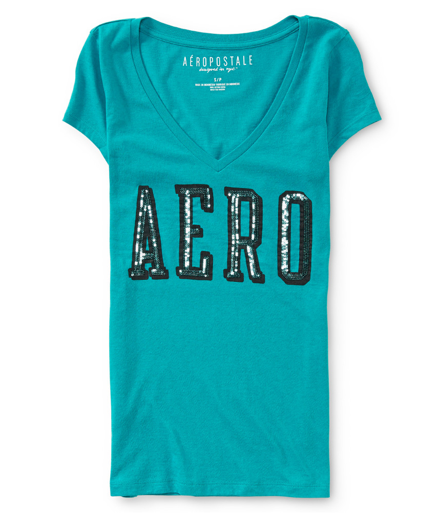 Aeropostale womens sequined logo embellished t shirt for Women s embellished t shirts