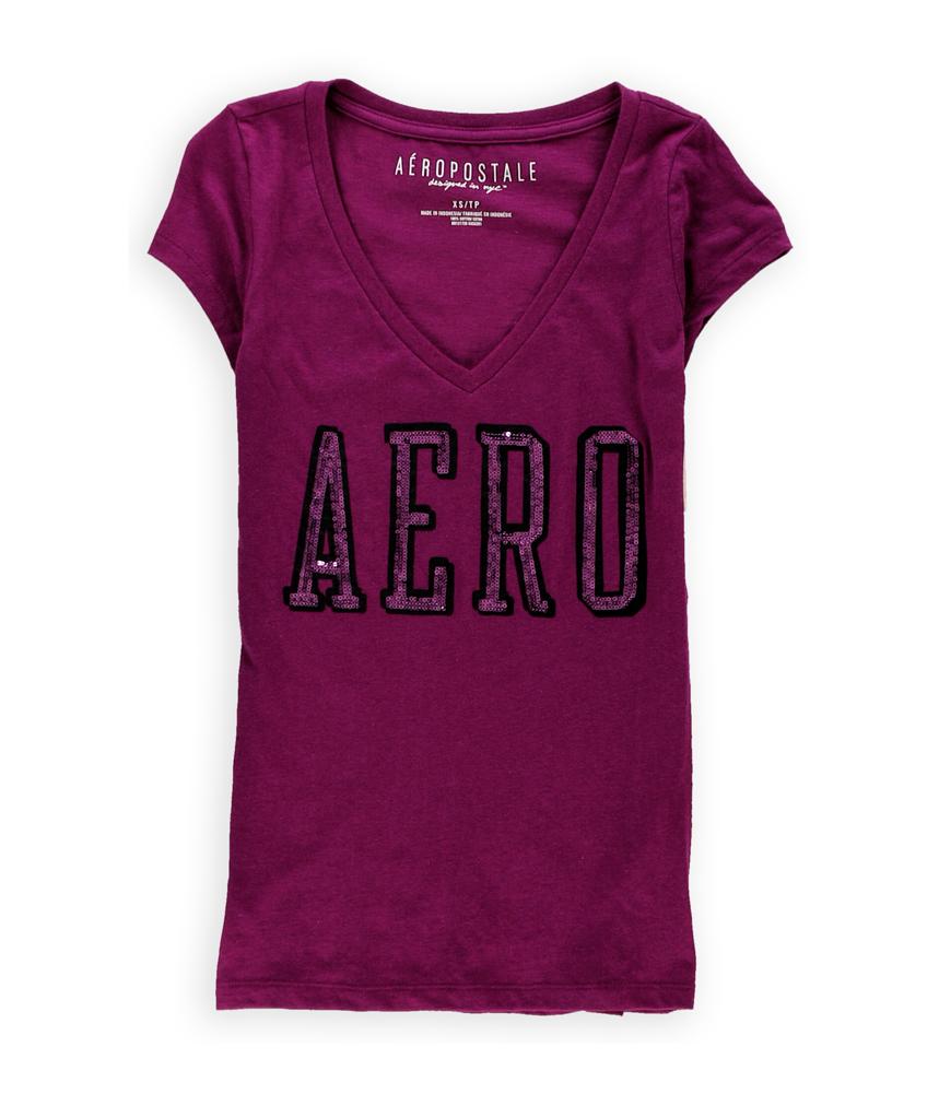 Aeropostale womens sequined logo embellished t shirt ebay for Women s embellished t shirts