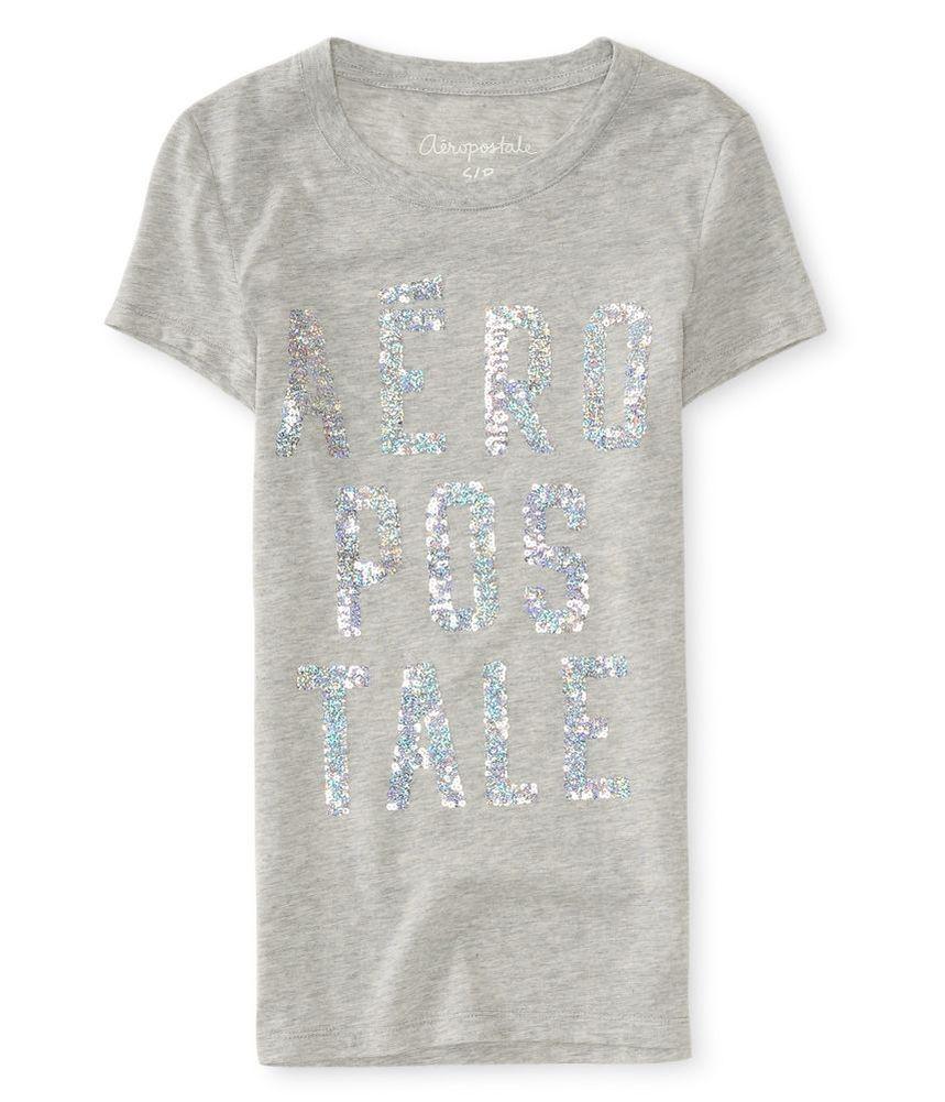aeropostale womens sequin logo graphic t shirt ebay. Black Bedroom Furniture Sets. Home Design Ideas