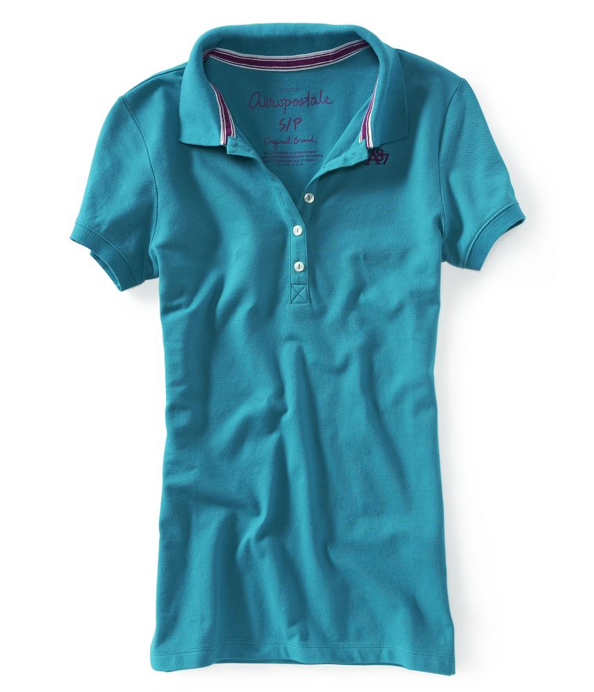 Aeropostale womens a87 5 button polo shirt ebay for No button polo shirts