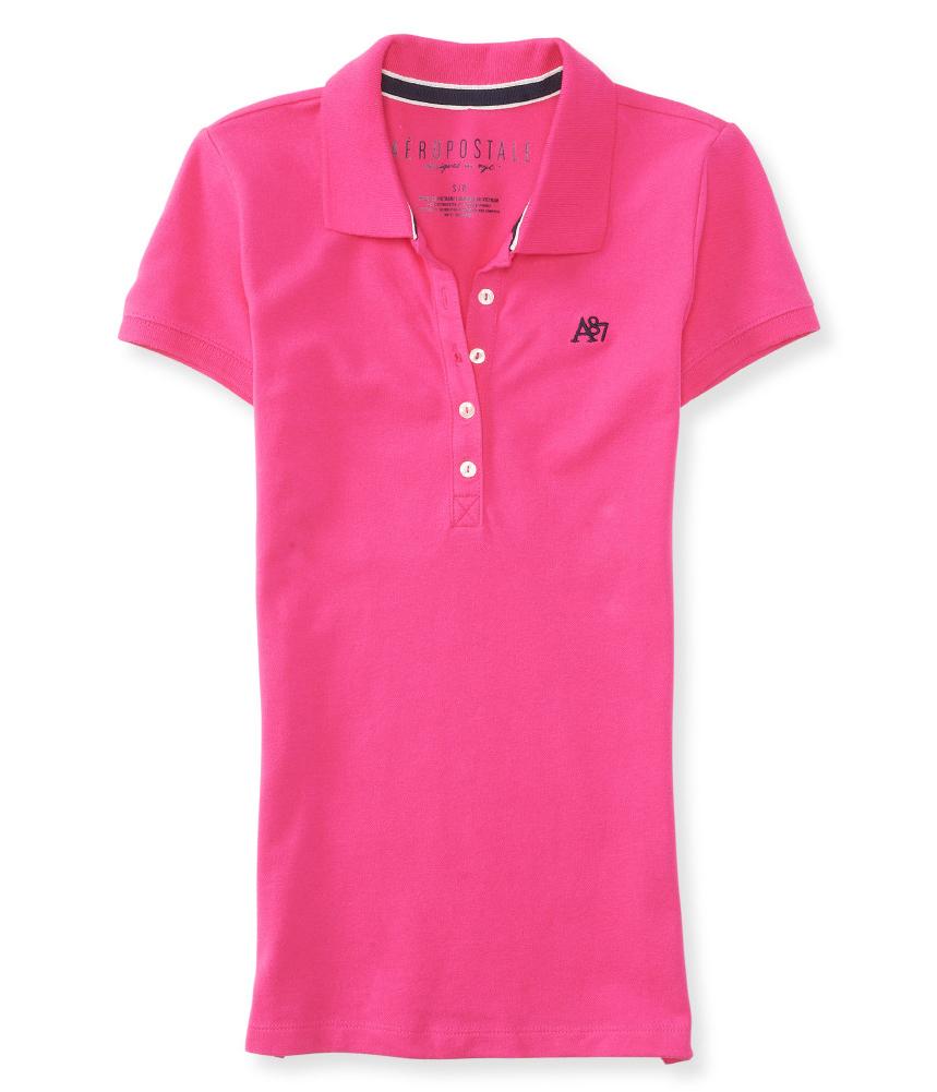 Aeropostale womens a87 5 button polo shirt for Womens button up polo shirts