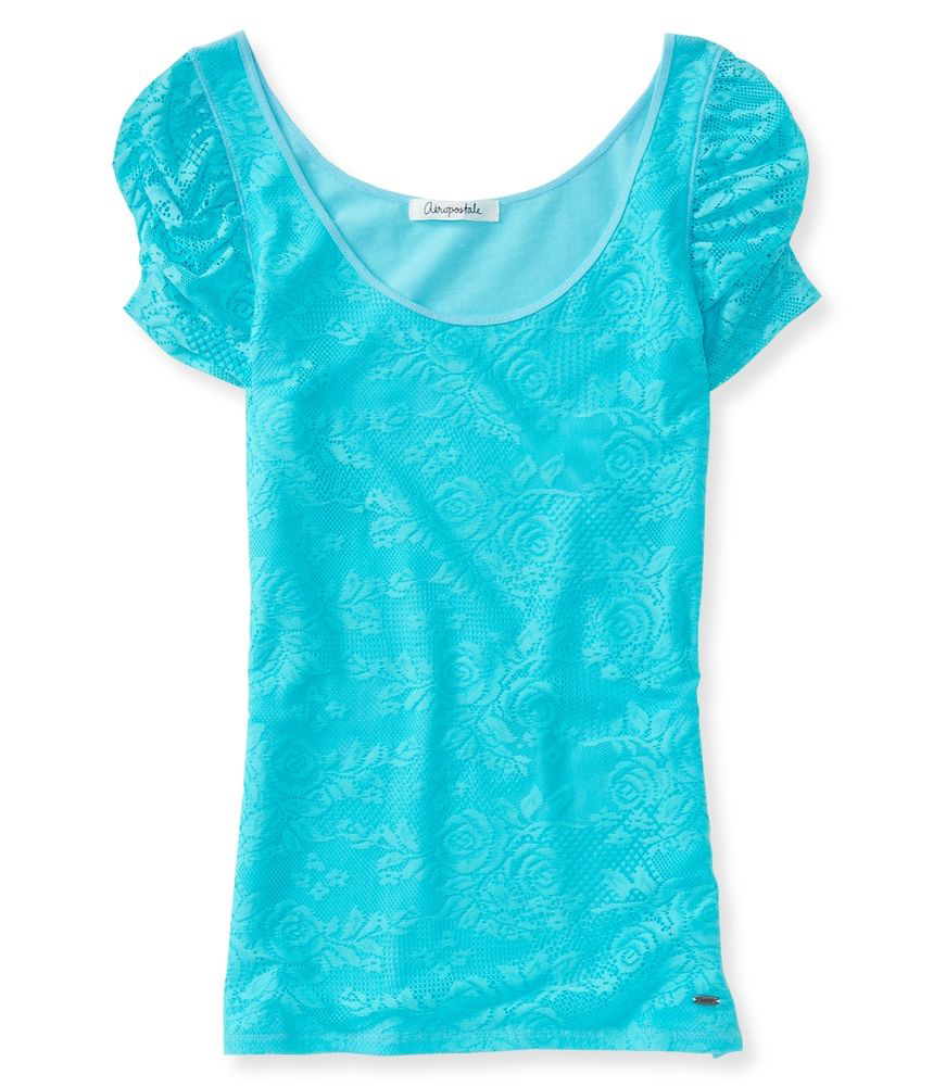 Aeropostale womens slim lace embellished t shirt ebay for Women s embellished t shirts