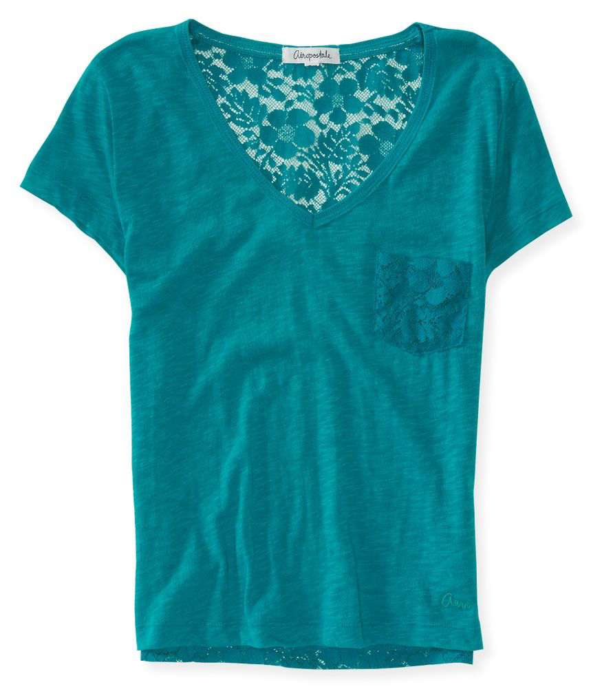 aeropostale womens lace v neck embellished t shirt