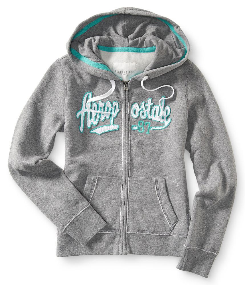 Aeropostale Womens Aero 87 Full Zip Hoodie Sweatshirt
