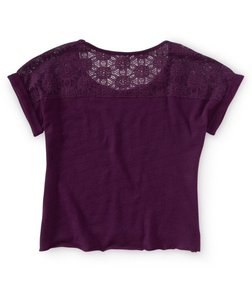 Aeropostale womens lace back cropped graphic t shirt ebay for Shirts with graphics on the back
