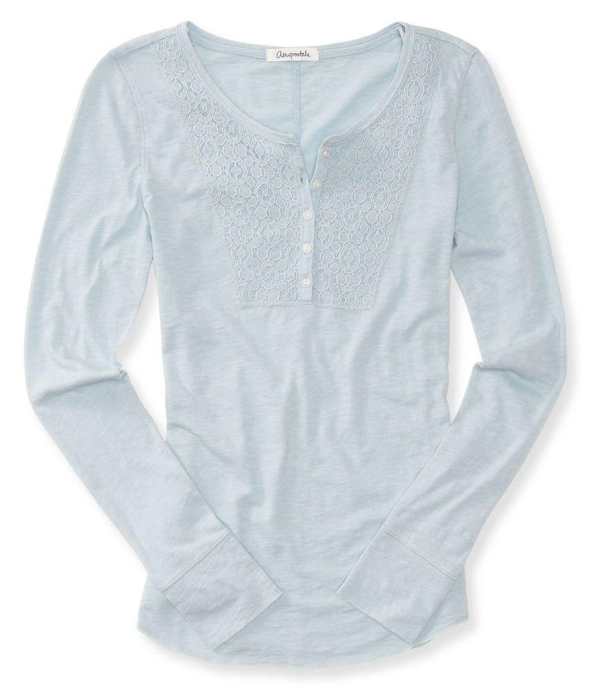 Aeropostale Womens Lace Yoke Henley Shirt 018 L