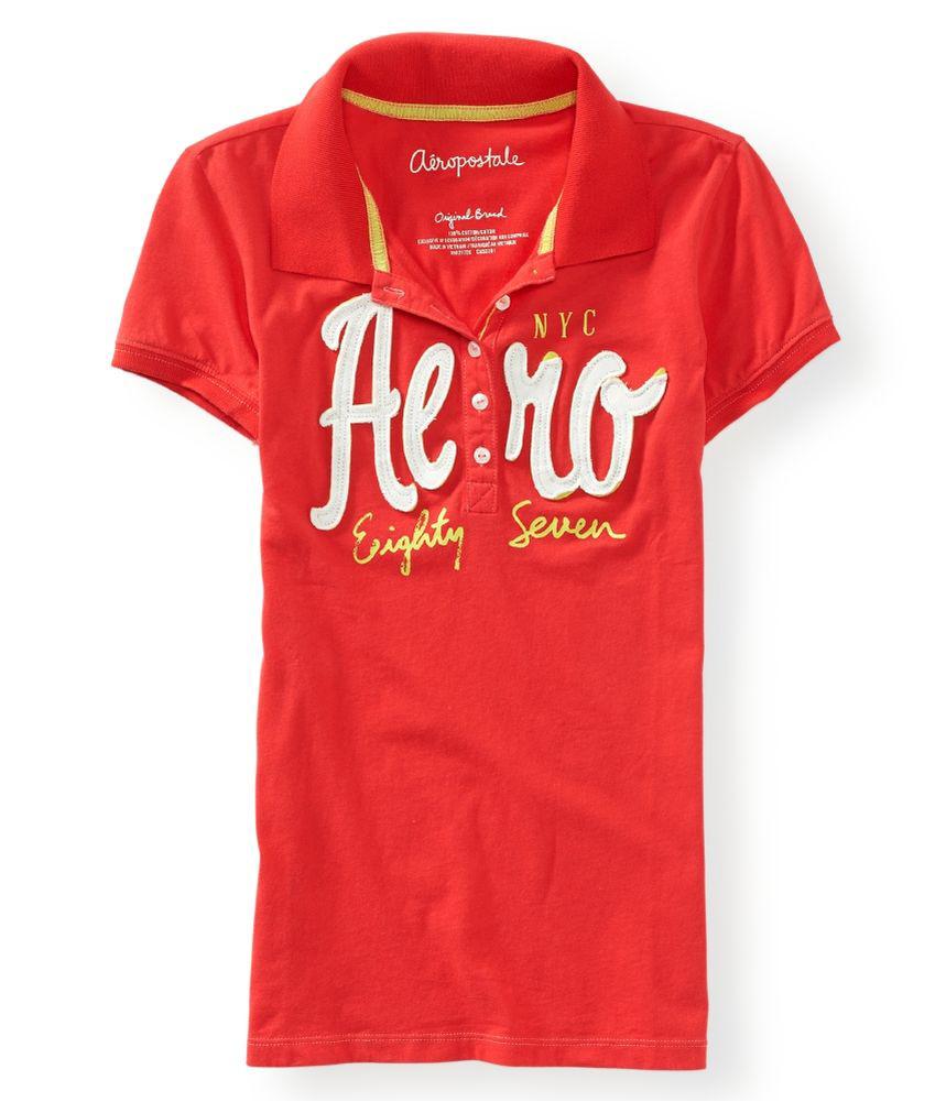 Aeropostale Womens Embroidered Logo Polo Shirt Ebay