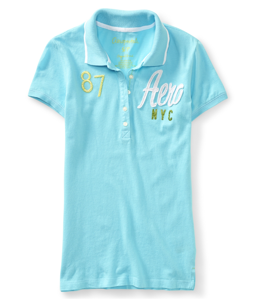 Aeropostale womens embroidered nyc polo shirt