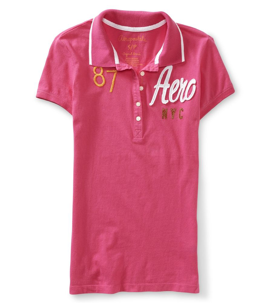 Aeropostale womens embroidered nyc polo shirt ebay