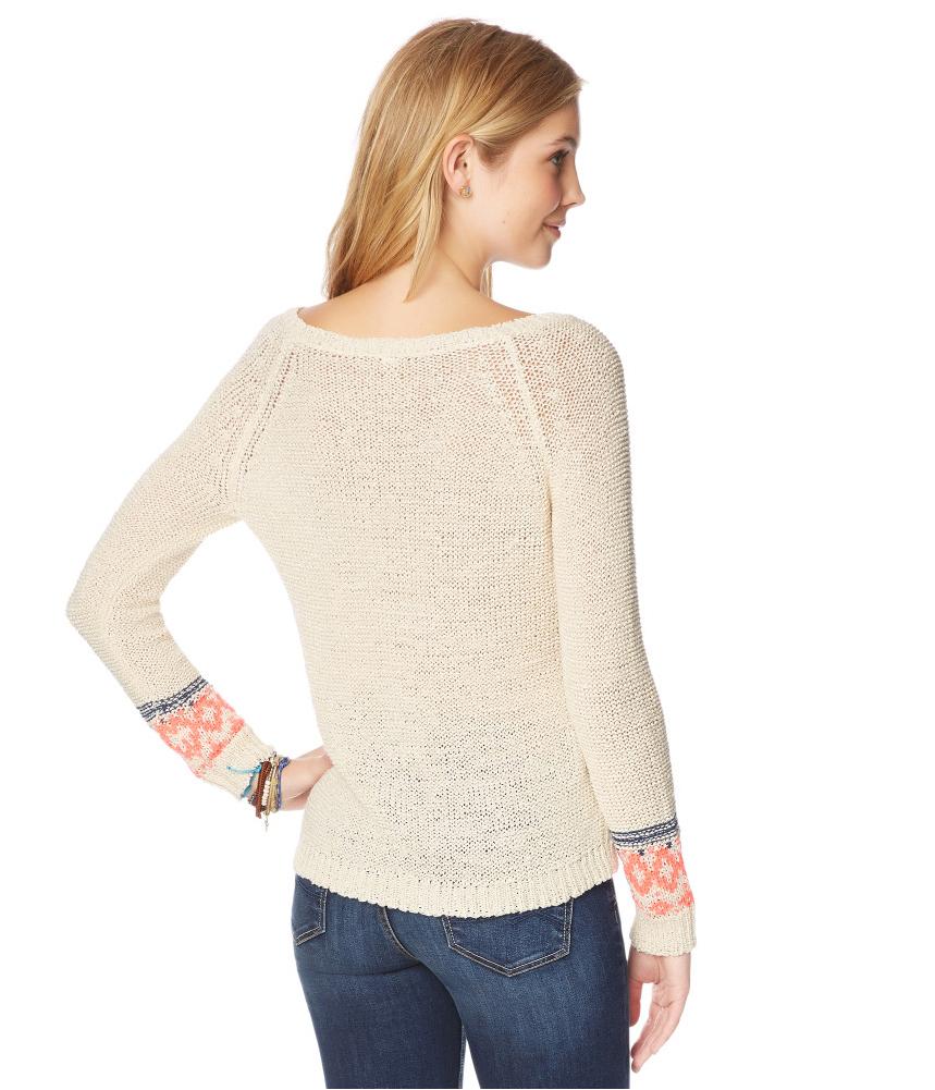 aeropostale womens fair isle knit pullover sweater ebay. Black Bedroom Furniture Sets. Home Design Ideas