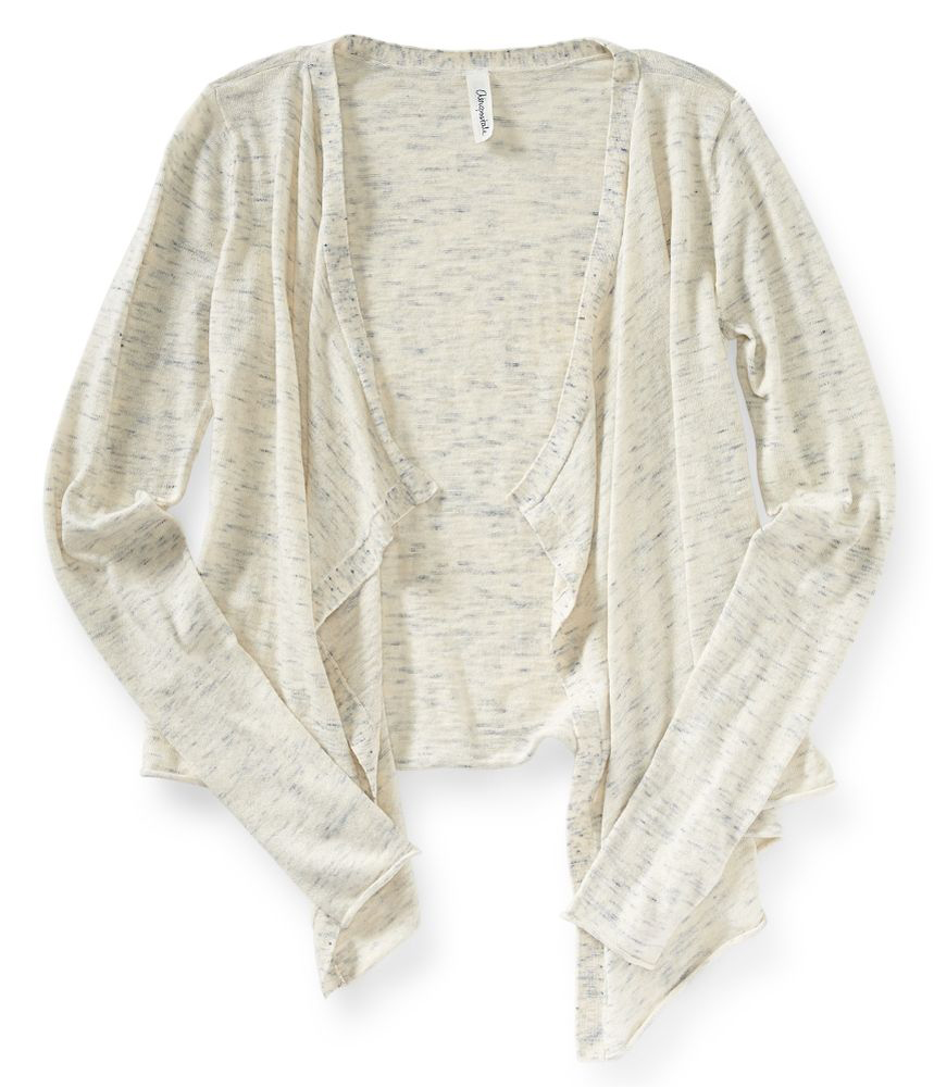 Aeropostale Womens Heathered Drape Cardigan Sweater