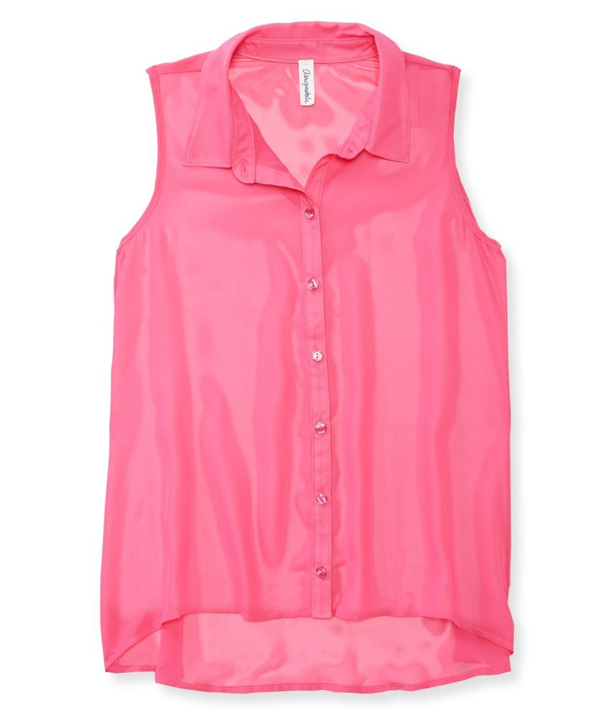 Aeropostale womens sheer solid color chiffon woven button for Women s collared button up shirts