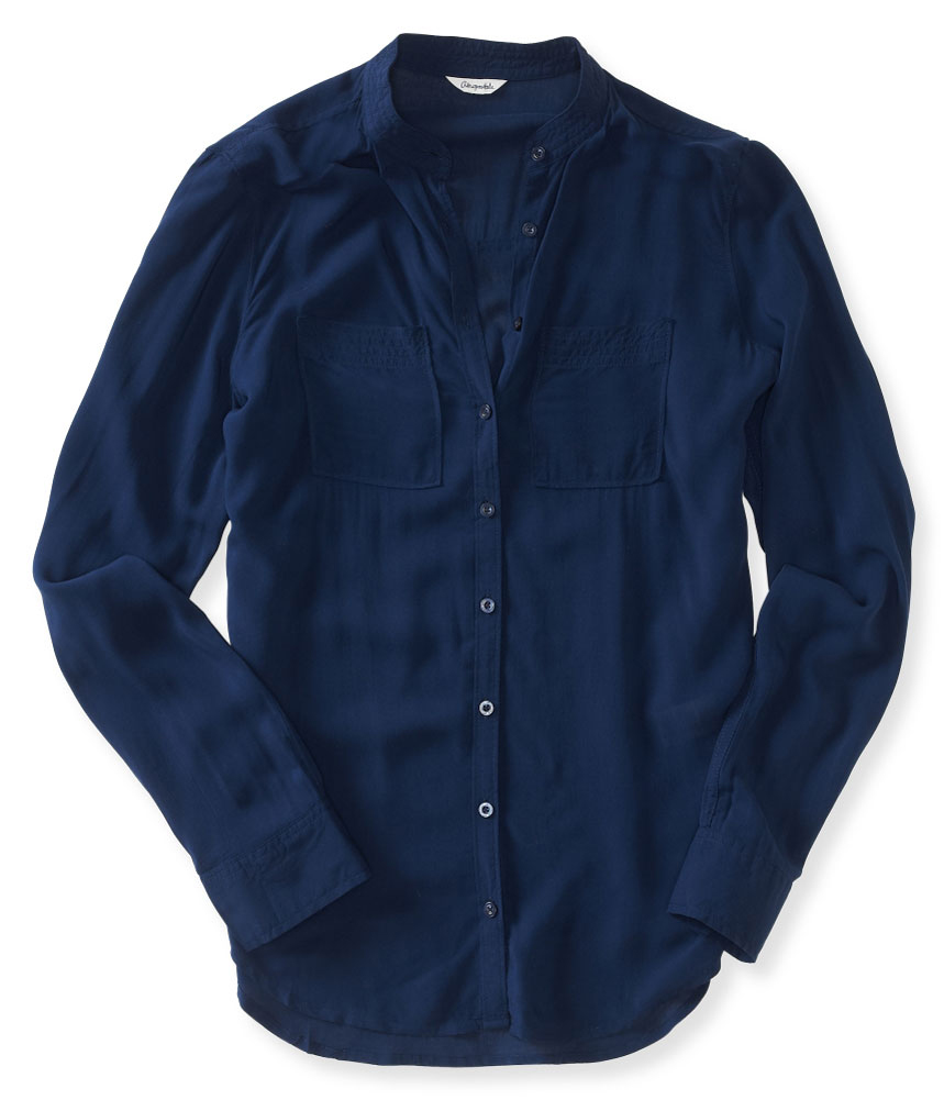 Aeropostale womens semi sheer button up shirt ebay for Where to buy womens button up shirts