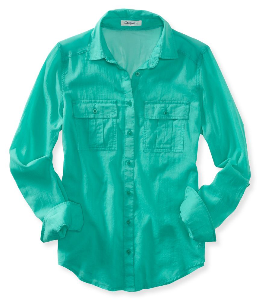 Aeropostale Womens Fitted Button Up Shirt 487 Xs Ebay